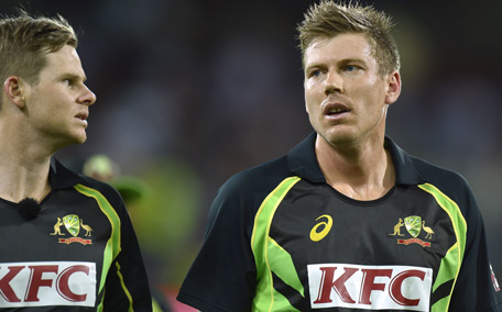 Steven Smith (L) and James Faulkner of Australia are pictured during the first Twenty20 cricket international between India and Australia at the Adelaide Oval in Adelaide. (AFP)