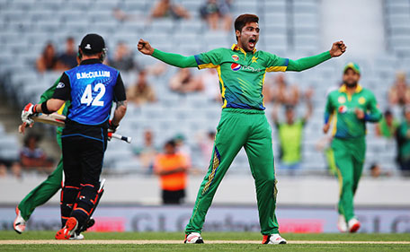 Mohammad Amir of Pakistan celebrates the wicket of Brendon McCullum of the Black Caps during the One Day International match between New Zealand and Pakistan at Eden Park on January 31, 2016 in Auckland, New Zealand. (Getty Images)