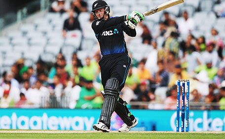 Martin Guptill of the Black Caps plays the ball away for four runs during the One Day International match between New Zealand and Pakistan at Eden Park on January 31, 2016 in Auckland, New Zealand. (Getty Images)