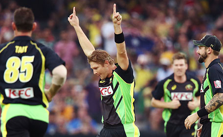 Shane Watson of Australia celebrates after taking the wicket of Shikhar Dhawan of India during game one of the Twenty20 International match between Australia and India at Adelaide Oval on January 26, 2016 in Adelaide, Australia. (Getty Images)