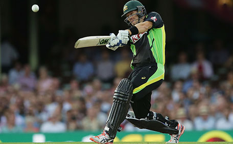 Shane Watson of Australia hits a six during the International Twenty20 match between Australia and India at Sydney Cricket Ground on January 31, 2016 in Sydney, Australia. (Getty Images)
