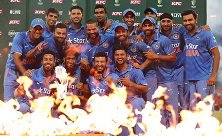 The Indian team celebrate with the series trophy after victory in the International Twenty20 match between Australia and India at Sydney Cricket Ground on January 31, 2016 in Sydney, Australia. (Getty Images)