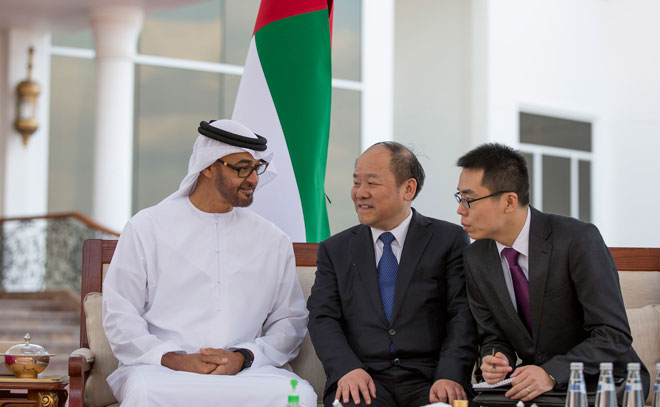 Sheikh Mohamed bin Zayed Al Nahyan meets Ning Jizhe (centre) Vice Chairman of the National Development and Reform Commission (NDRC. (Wam)