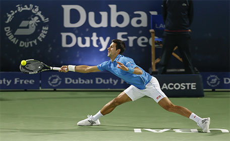 Novak Djokovic at the Dubai Duty Free Tennis Championships. (Supplied)