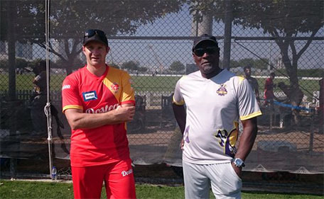 Shane Watson (left) with West Indies legend Sir Vivian Richards. (Supplied)