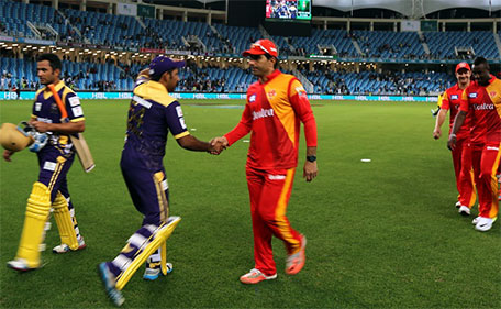 Sarfraz Ahmed (left) of Quetta Gladiators being congratulated by Misbah ul Haq of Islamabad United after winning the PSL opener in Dubai on Feb 4 2016. (@PSL)
