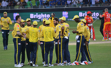 Peshawar Zalmi during a drinks break as they take on Islamabad United in the PSL match in Dubai on February 5 2016. (Supplied)