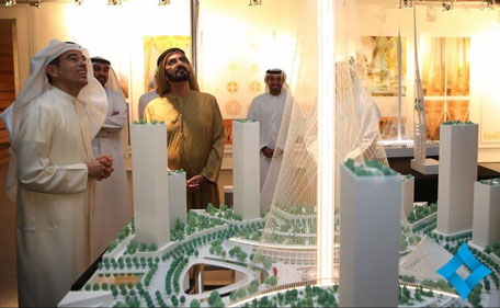 Sheikh Mohammed visited a show held at Burj Khalifa, displaying designs by six consultancy companies bidding for the designing package of the tower contract. (Supplied)