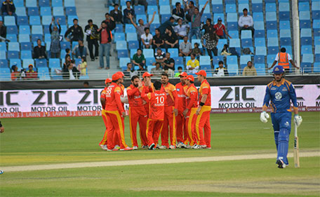 Saeed Ajmal celebrates with his team mates from Islamabad United after dismissing James Vince of Karachi Kings lbw in the PSL Match 6 in Dubai on February 7 2016. (@PSL)
