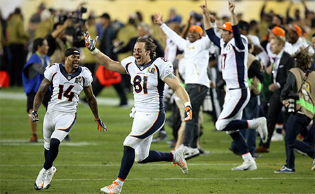 Denver Broncos tight end Owen Daniels (81) celebrates after beating the Carolina Panthers in Super Bowl 50 at Levi's Stadium.(Cary Edmondson-USA TODAY Sports)