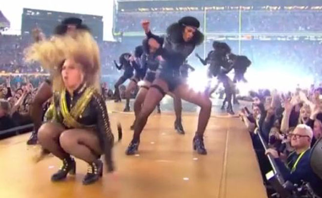 Beyonce performing during the half-time show at the NFL's Super Bowl 50 football game between the Carolina Panthers and the Denver Broncos in Santa Clara, California February 7, 2016. (Vine)