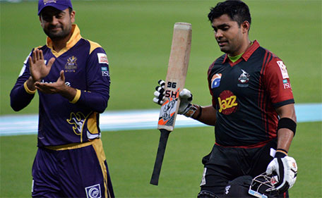 Umar Akmal of Lahore Qalandars is congratulated after his whirlwind knock of 93. (@PSL)