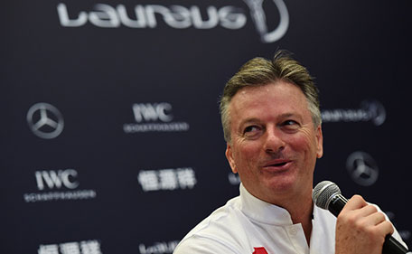 Laureus World Sports Academy member Steve Waugh during a media interview at the Shanghai Grand Theatre prior to the 2015 Laureus World Sports Awards on April 15, 2015 in Shanghai, China. (Getty Images)