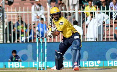 Mohammad Hafeez of Peshawar Zalmi plays a shot during the PSL Match 10 against Karachi Kings at Sharjah Cricket Stadium on February 11 2016. (@PSL)