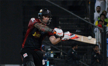 Cameron Delport of Lahore Qalandars during his half century against Peshawar Zalmi in Match 15 of PSL at Sharjah Cricket Stadium on February 13 2016. (@PSL)