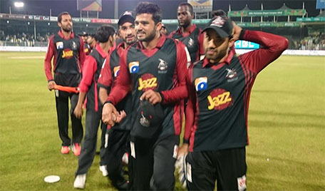 Azhar Ali of Lahore Qalandars leads the team out after they beat Peshawar Zalmi in Match 15 of the PSL at Sharjah Cricket Stadium on February 13 2016. (@PSL)