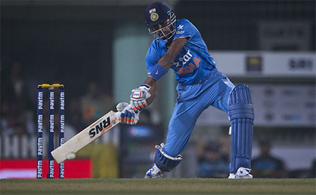 Indian batsman Hardik Pandya plays a ball against Sri Lanka during the second T20 match of a three match series between the two countries, in Ranchi, India, Friday, Feb. 12, 2016. (AP)