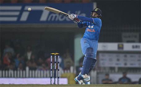 Indian batsman Suresh Raina plays a ball against Sri Lanka during the second T20 match of a three match series between the two countries, in Ranchi, India, Friday, Feb. 12, 2016. (AP)