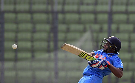 Indian cricketer Sarfaraz Khan plays a shot during the under-19s World Cup cricket final between India and West Indies at the Sher-e-Bangla National Cricket Stadium in Dhaka on February 14, 2016. (AFP)