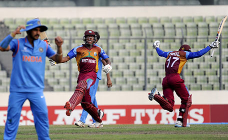 Keacy Carty of West Indies U19 celebrates as he takes the winning run during the ICC U19 World Cup Final Match between India and West Indies on February 14, 2016 in Dhaka, Bangladesh. (Getty Images)