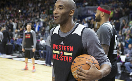 Western Conference's Kobe Bryant, of the Los Angeles Lakers, watches during practice at the NBA All-Star Game in Toronto on Saturday, Feb. 13, 2016. (Chris Young/The Canadian Press via AP)