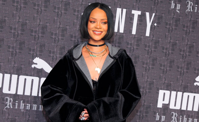 Rihanna attends the JFENTY PUMA by Rihanna fashion show at 23 Wall Street on Friday, Feb. 12, 2016, in New York. (AP)
