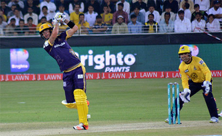 Kevin Pietersen of Quetta Gladiators playing a shot during his knock of 53 against Peshawar Zalmi in the PSL Qualifier Final at Dubai International Stadium on Feb 19 2016. (@PSL)