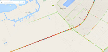 Google map shows multiple car-crash on Sheikh Zayed Road, and traffic pile-up at 8am.