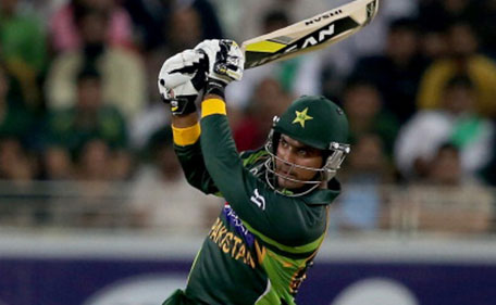 Sharjeel Khan of Pakistan bats during the second Twenty20 International match between Pakistan and Sri Lanka at Dubai Sports City Cricket Stadium on December 13, 2013 in Dubai, United Arab Emirates. (Getty Images)