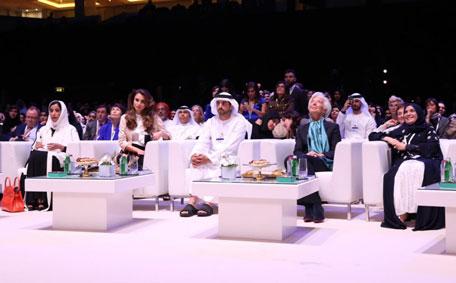 Sheikh Hamdan bin Mohammed bin Rashid Al Maktoum, Queen Rania of Jordan and Mona Al Marri at the Global Women's Forum in Dubai. (DMO)