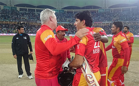 Islamabad United coach Dean Jones and skipper Misbah ul Haq savour their triumph in the final of the Pakistan Super League at Dubai International Stadium on Feb 23 2016. (PCB)