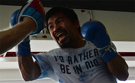 This photo taken on February 15, 2016 shows Philippine boxing legend Manny Pacquiao during training at a gym in General Santos City in the southern Philipppine island of Mindanao. (AFP)