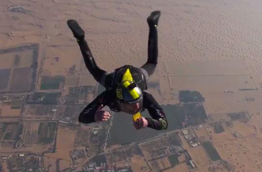 Skydive tweet at over 200kmph