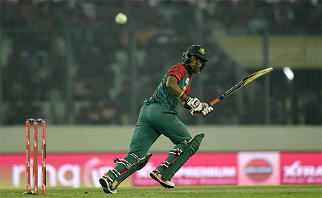 Bangladesh cricketer Sabbir Rahman plays a shot during a Twenty20 cricket match between India and Bangladesh for the Asia Cup T20 cricket tournament at The Sher-e-Bangla National Cricket Stadium in Dhaka on February 24, 2016. (AFP)