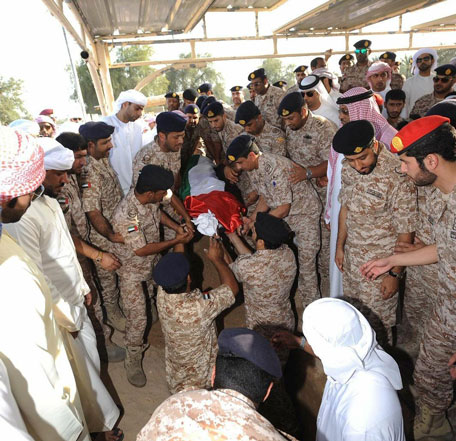 The body of the nation's martyr was laid to rest at Qadfa Cemetery in Fujairah. (Wam)