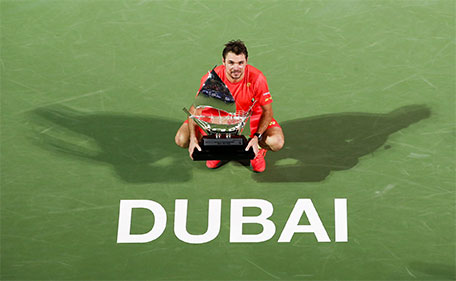 Stan Wawrinka savouring his maiden triumph at the Dubai Duty Free Tennis Championships at Aviation Club on Saturday Feb 27 2016. (Supplied)
