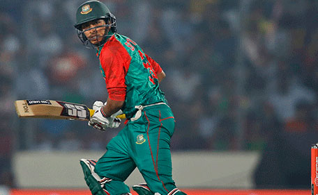 Bangladesh's Soumya Sarkar plays a shot during the Asia Cup Twenty20 international cricket match against Pakistan in Dhaka, Bangladesh, Wednesday, March 2, 2016. (AP
