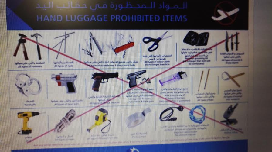 Dubai airport list of items prohibited as hand luggage - Emirates 24|7
