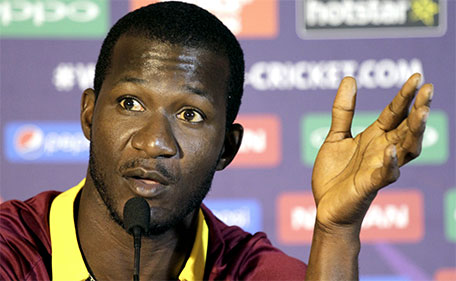 West Indies cricket team captain Darren Sammy gestures during a press conference prior to their practice match at the ICC world Twenty20 tournament, in Kolkata, India, Tuesday, March 8, 2016. (AP)