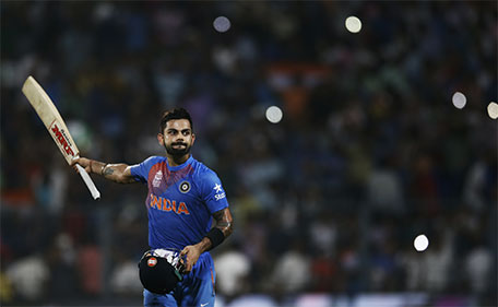 India's Virat Kohli celebrates his team victory  during the ICC World Twenty20 2016 cricket match against Pakistan at Eden Gardens in Kolkata, India, Saturday, March 19, 2016. (AP)
