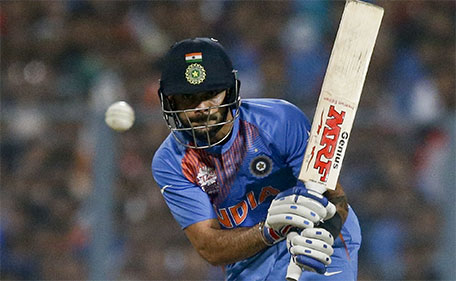 India's Virat Kohli, bats during the ICC World Twenty20 2016 cricket match against Pakistan at Eden Gardens in Kolkata, India, Saturday, March 19, 2016. (AP)