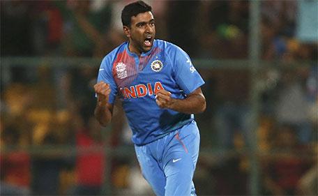 India's Ravichandran Ashwin celebrates taking the wicket of Bangladesh's Mohammad Mithun.(Reuters)