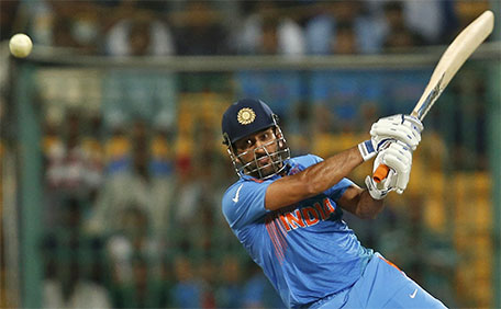 India's captain Mahendra Singh Dhoni plays a shot. (Reuters)