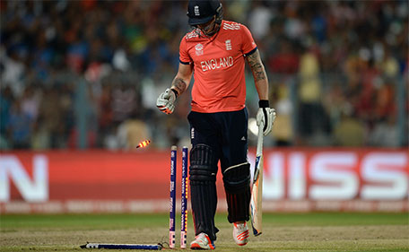 Jason Roy of England leaves the field after being bowled by Samuel Badree of the West Indies during the ICC World Twenty20 India 2016 Final between England and the West Indies at Eden Gardens on April 3, 2016 in Kolkata, India. (Getty Images)