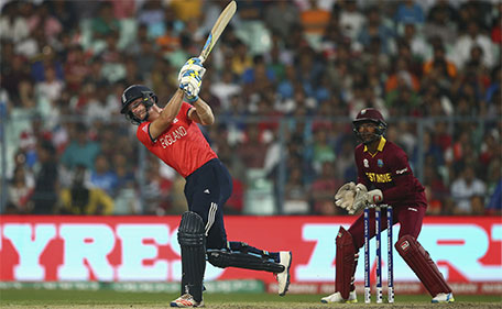 Jos Buttler of England hits a six off Sulieman Benn of the West Indies of the West Indies during the ICC World Twenty20 India 2016 Final match between England and West Indies at Eden Gardens on April 3, 2016 in Kolkata, India. (Getty Images)