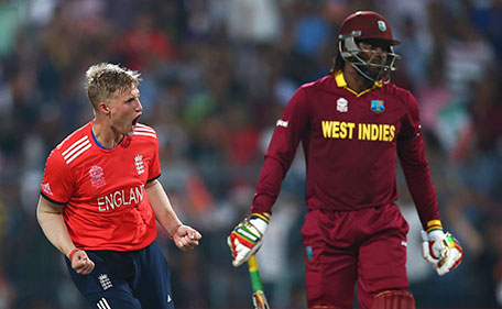 Joe Root of England celebrates after taking the wicket of Chris Gayle of the West Indies during the ICC World Twenty20 India 2016 Final match between England and West Indies at Eden Gardens on April 3, 2016 in Kolkata, India. (Getty Images)