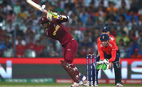Marlon Samuels of the West Indies bats during the ICC World Twenty20 India 2016 Final match between England and West Indies at Eden Gardens on April 3, 2016 in Kolkata, India. (Getty Images)