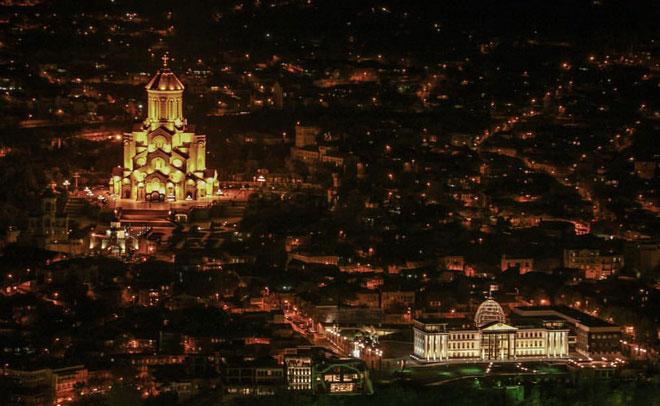 Tbilisi, capital of Georgia, by night. (Pic: Sahany)