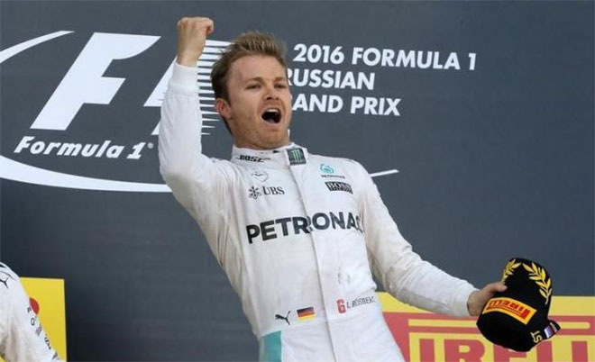 Mercedes F1 driver Nico Rosberg of Germany celebrates victory during the Russian Grand Prix in Sochi, Russia - 1/5/16. (Reuters)