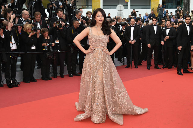 "Indian actress Aishwarya Rai poses on May 14, 2016 as she arrives for the screening of the film ""The BFG"" at the 69th Cannes Film Festival in Cannes, southern France. (AFP)"
